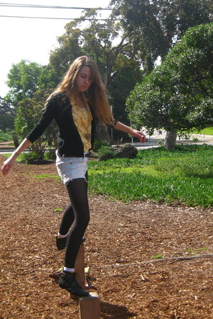 black Urban Outfitters shoes - yellow Secondhand shirt - black Target cardigan