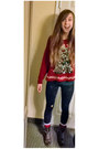 Dark-brown-boots-red-christmas-sweater-dark-gray-acid-wash-leggings