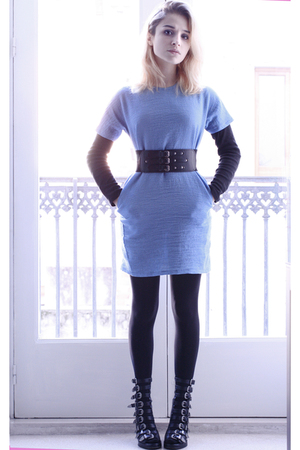 blue Marni dress - black Zara belt - black Chlo Sevigny for Opening Cerimony sho