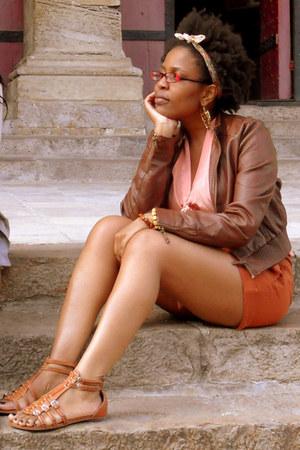 leather jacket jacket - shorts - blouse - sandals