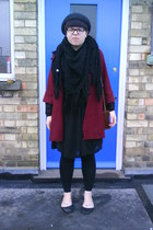 gray Topshop hat - black vintage scarf - red Primark coat - black vintage dress