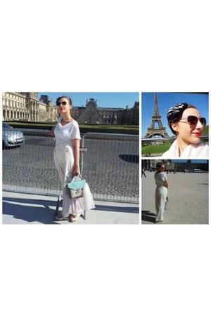 ivory silk vintage pants - white H&M scarf - light blue Accessorize bag