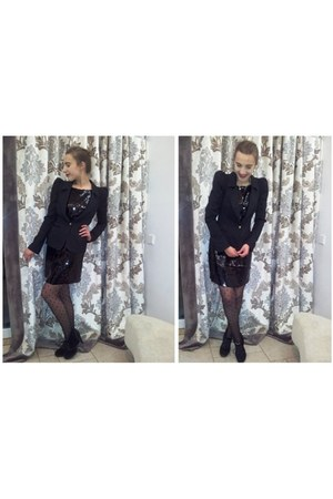 black banana republic dress - black Atmosphere blazer - black Primark stockings