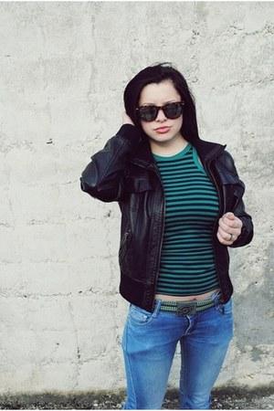 blue random brand jeans - black random brand jacket - teal random brand shirt