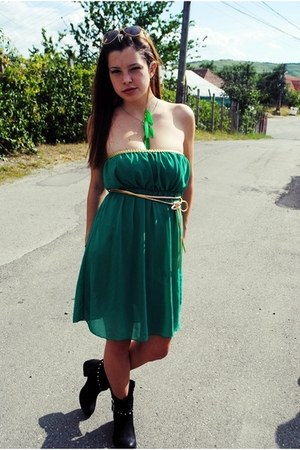 green dress - black boots