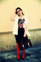 light pink jacket - red tights - crimson vintage bag - black skirt