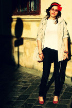 dark gray jeans - beige jacket - white t-shirt - bubble gum heels