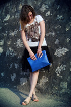 DIY bag - Zara sandals - vintage skirt - t-shirt