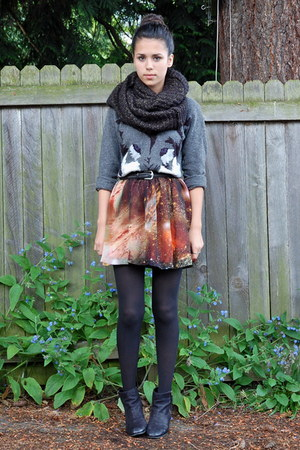 brick red Sheinside skirt - black Nordstrom boots - charcoal gray H&M sweater
