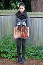 Black-nordstrom-boots-charcoal-gray-h-m-sweater-brick-red-sheinside-skirt