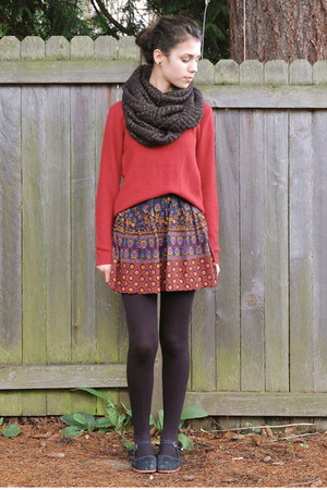 deep purple Thrift Store skirt - brick red Forever 21 sweater