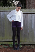 ivory Goodwill shirt - black Nordstrom boots - black Harriet Carter tights