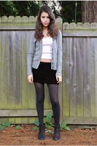 heather gray American Eagle cardigan - black BP boots