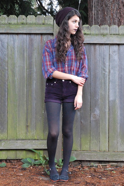deep purple Topshop shorts - black Urban Outfitters hat