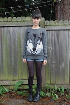 black Forever 21 boots - gray H&M sweater - black Target tights