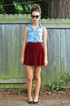 crimson American Apparel skirt - sky blue romwe top