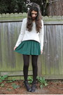 Black-nordstrom-boots-forest-green-modcloth-dress-eggshell-h-m-sweater