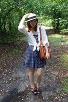 white h&m divided blouse - blue Cherry Sue dress - brown Miu Miu shoes - brown M