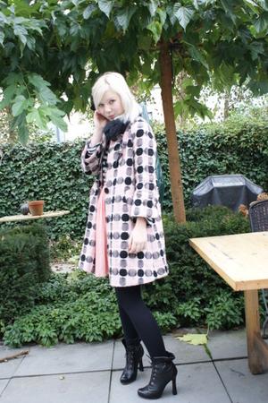 pink Fornarina coat - blue H&M shirt - pink vintage skirt - black viktor & rolf
