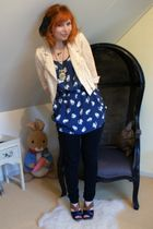 beige H&M jacket - blue Zara dress - black jeans - brown Miu Miu shoes
