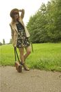 Pink-vila-blazer-black-vintage-skirt-brown-vintage-bag-brown-chloe-boots-