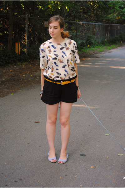 Ivory Feather Printed Vintage Blouses, Black Dollhouse Shoes ...