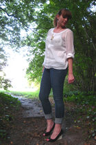white thistle and pearl blouse - blue Charlotte Russe jeans - black vintage shoe