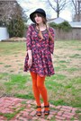 Pink-silky-dress-black-wool-vintage-hat-orange-topshop-tights