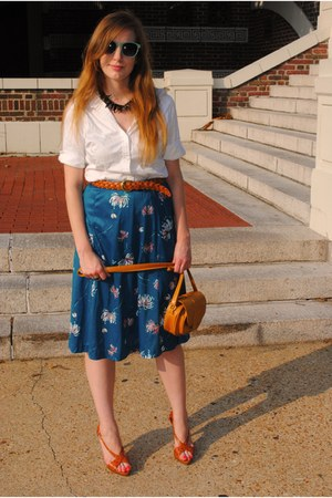 teal polyester vintage skirt - tawny platforms Steve Madden Luxe shoes