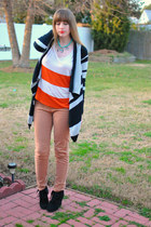 black striped Old Navy sweater - black wedge Mossimo boots