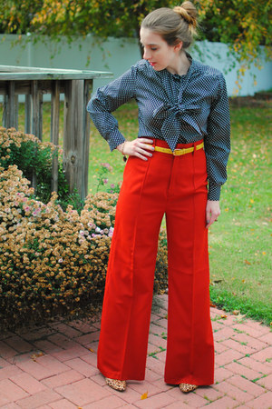 burnt orange polyester vintage pants - dark brown leopard print Aldo shoes