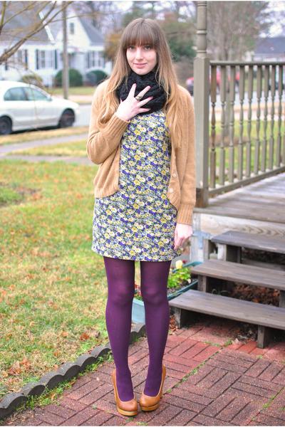 light purple floral Forever21 dress - tawny platforms Kimchi Blue shoes