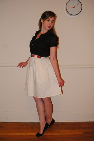 black skimmers Urban Outfitters shoes - cream vintage skirt - black sheer Old Na