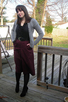 black  blouse - gray nyand co cardigan - purple vintage skirt - black H&M belt -