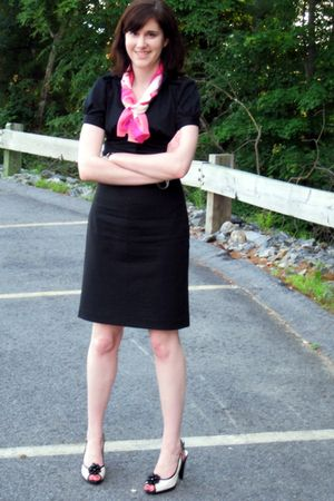 black banana republic blouse - black banana republic skirt - pink AK Anne Klein