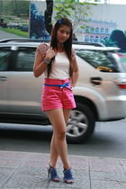 beige korea top - pink by Daina shorts - blue korea shoes