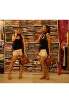 black Style Nanda top - beige River Island shorts - brown Burberry purse