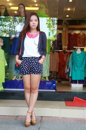 navy Forever 21 shorts - hot pink Marc Jacobs bag - navy Mango cardigan