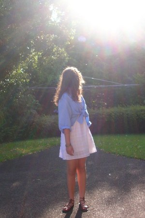 sky blue op-shop shirt - white dress - brown sandals
