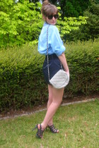 heather gray shoes - sky blue shirt - heather gray bag - navy skirt