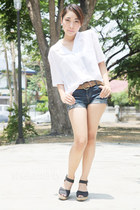 denim shorts Shop Dainty shorts - Shop Dainty top - CLN wedges