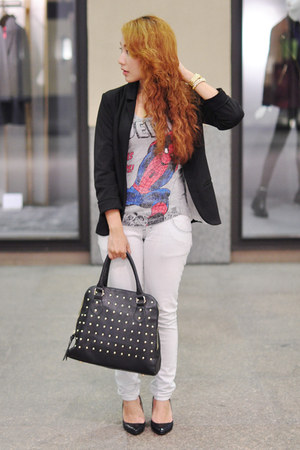 spiderman Folded & Hung top - PERSUNMALL blazer - Cava bag - Moonstone bracelet