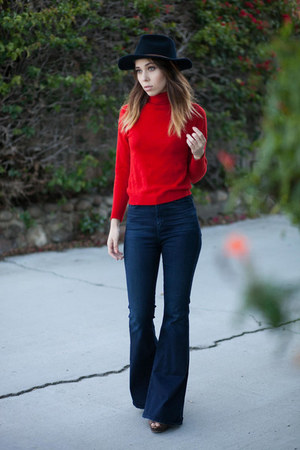 red wool turtleneck vintage sweater - brown Steve Madden shoes - PYLO jeans