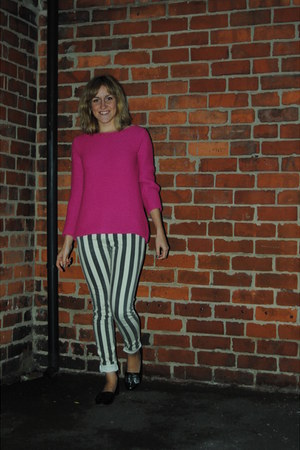 heather gray River Island jeans - hot pink Zara jumper - black Topshop flats