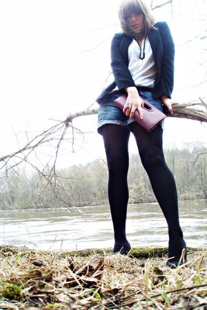 black shoes - black tights - blue Zara shorts - white shirt - black blazer - pur