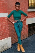 platform Jeffrey Campbell shoes - forest green sweater H&M blouse