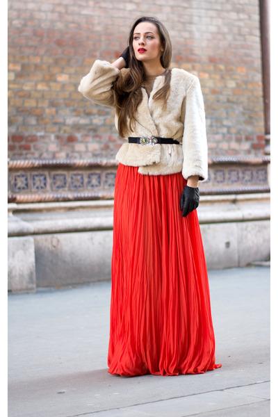 red silk nissa skirt - beige faux fur Zara coat - black jewelled Zara belt