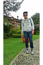 gray airwair Dr Martens boots - 511 denim Levis jeans - JCrane sweater