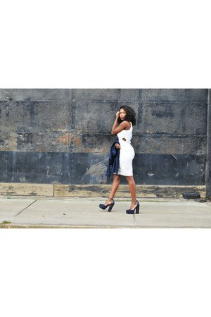 white Topshop dress - navy Topshop shoes