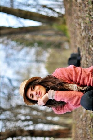 black jeans - nude hat - salmon blazer - light brown scarf - tan blouse